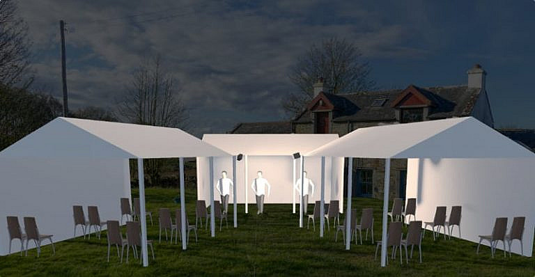 Artist impression of tents on the lawn